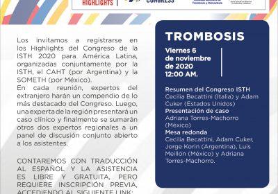 Highlights del Congreso de la ISTH 2020 ¨Temas de Trombosis¨